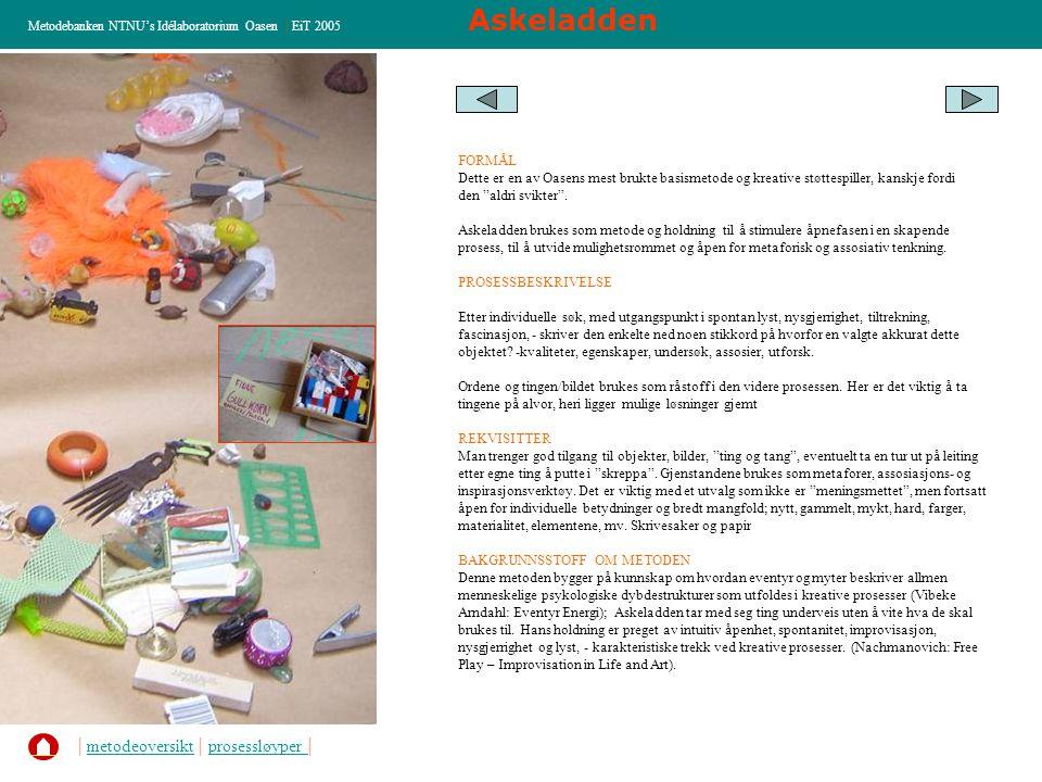 Askeladden Metodebanken NTNU's Idélaboratorium Oasen | EiT 2005 FORMÅL Dette er en av Oasens mest brukte basismetode og kreative støttespiller, kanskj