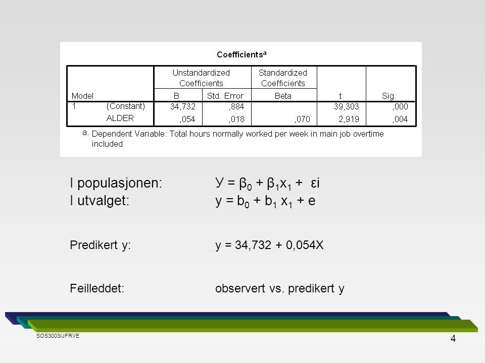 4 I populasjonen: У = β 0 + β 1 x 1 + εi I utvalget:y = b 0 + b 1 x 1 + e Predikert y:y = 34,732 + 0,054X Feilleddet: observert vs. predikert y SOS300