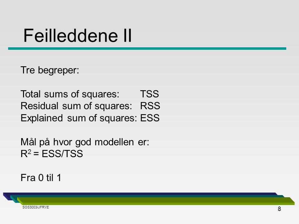 8 Tre begreper: Total sums of squares: TSS Residual sum of squares: RSS Explained sum of squares:ESS Mål på hvor god modellen er: R 2 = ESS/TSS Fra 0