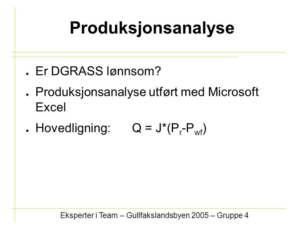 Produksjonsanalyse ● Er DGRASS lønnsom? ● Produksjonsanalyse utført med Microsoft Excel ● Hovedligning: Q = J*(P r -P wf ) Eksperter i Team – Gullfaks