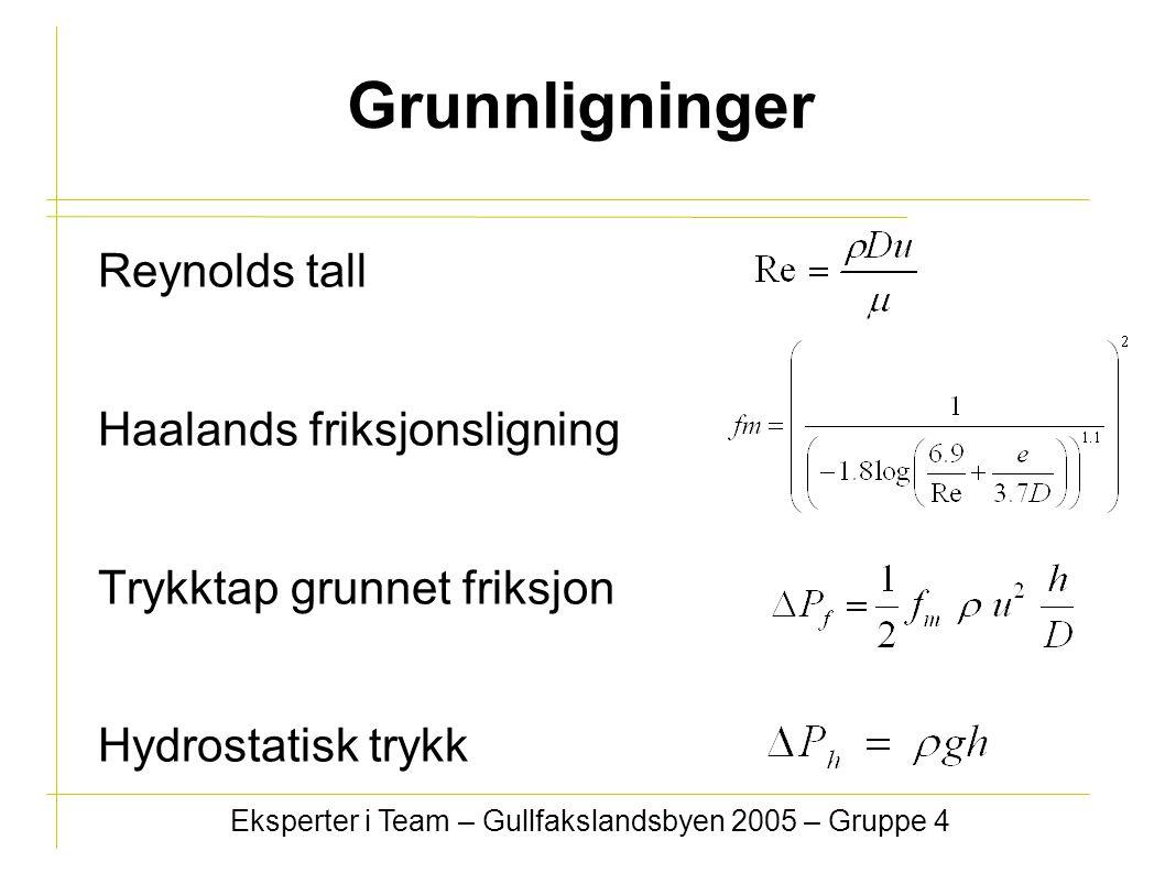 Grunnligninger Reynolds tall Haalands friksjonsligning Trykktap grunnet friksjon Hydrostatisk trykk Eksperter i Team – Gullfakslandsbyen 2005 – Gruppe 4