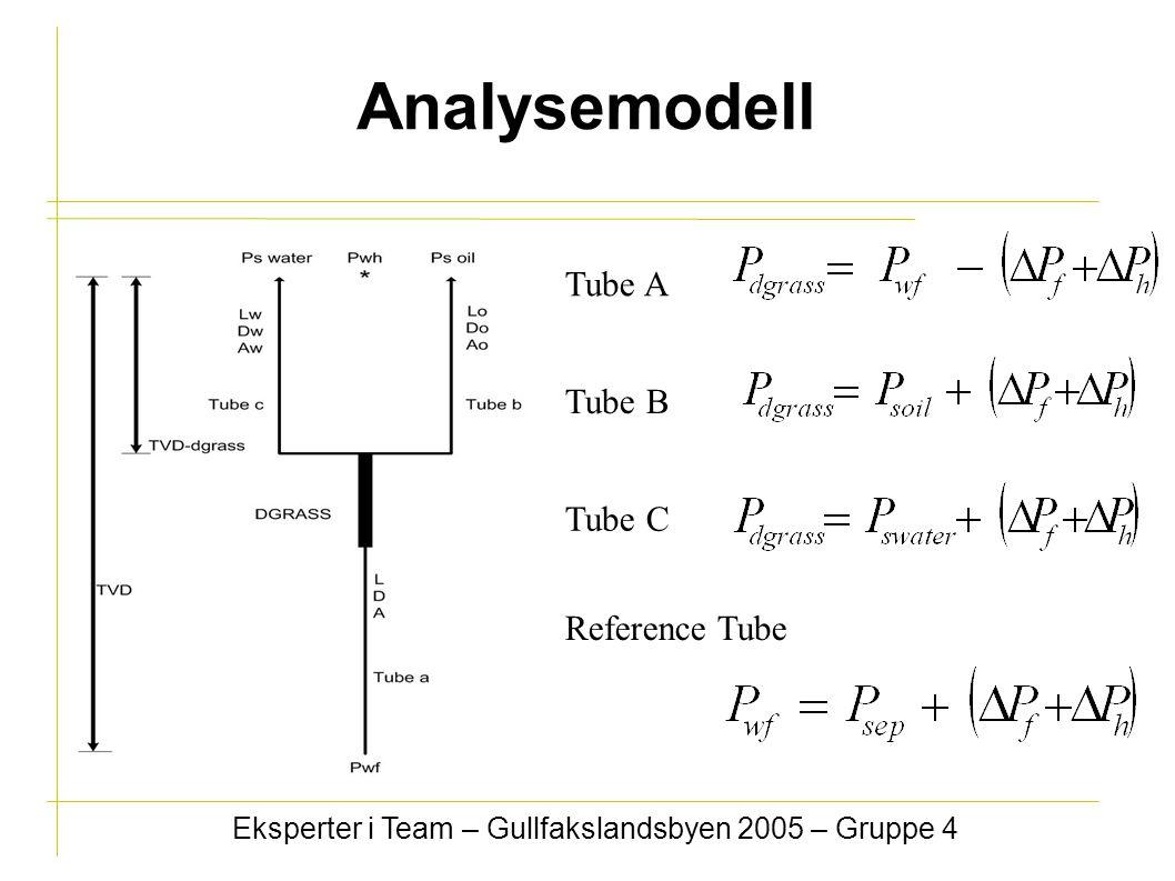 Analysemodell Eksperter i Team – Gullfakslandsbyen 2005 – Gruppe 4 Tube A Tube B Tube C Reference Tube