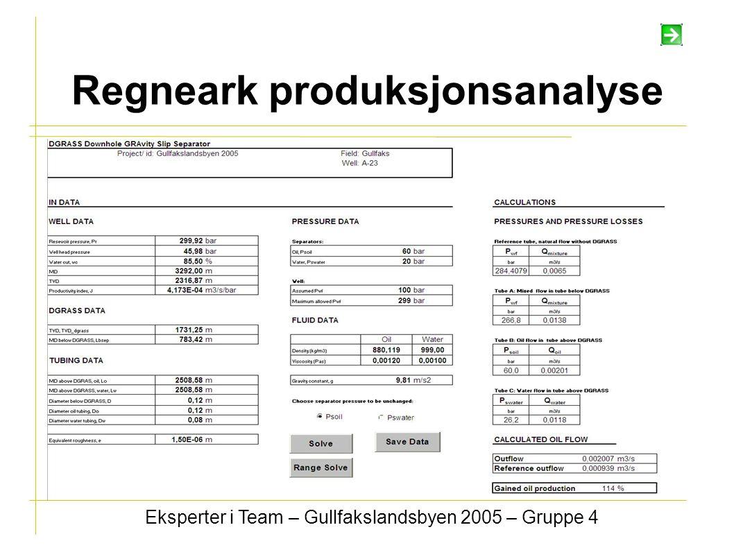 Regneark produksjonsanalyse Eksperter i Team – Gullfakslandsbyen 2005 – Gruppe 4