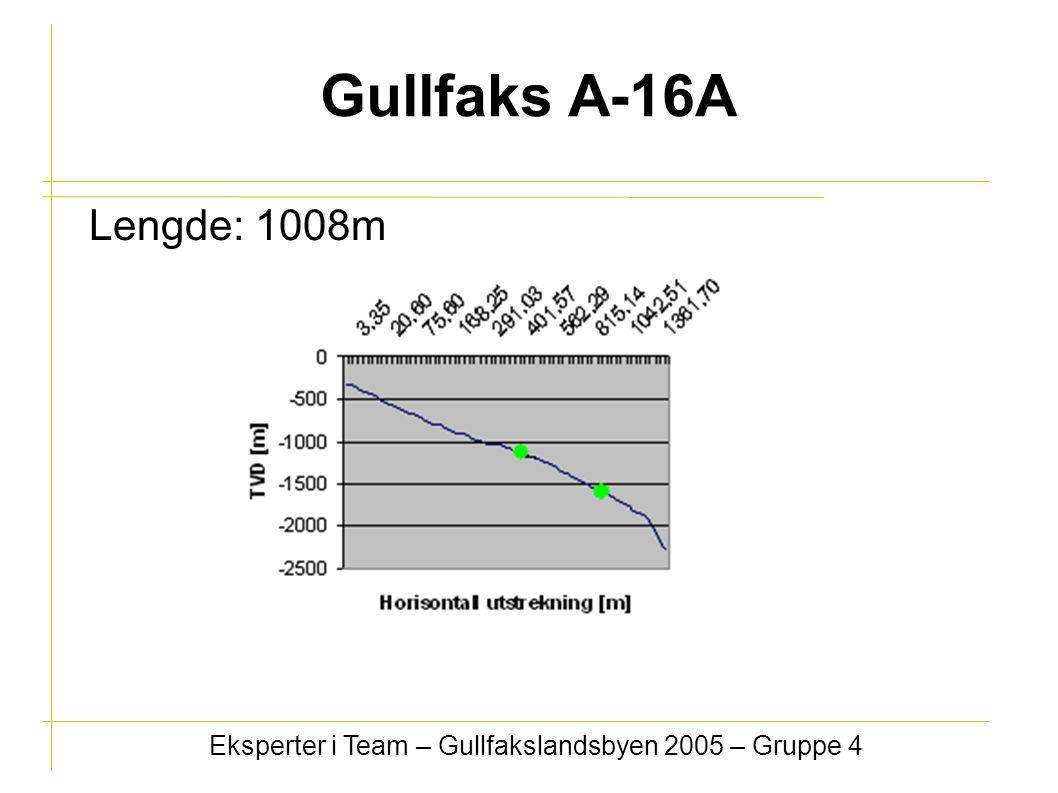 Gullfaks A-16A Lengde: 1008m Eksperter i Team – Gullfakslandsbyen 2005 – Gruppe 4