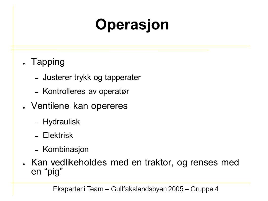 Operasjon ● Tapping – Justerer trykk og tapperater – Kontrolleres av operatør ● Ventilene kan opereres – Hydraulisk – Elektrisk – Kombinasjon ● Kan ve