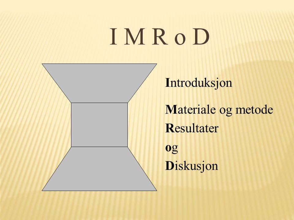 I M R o D Introduksjon Materiale og metode Resultater ogog Diskusjon