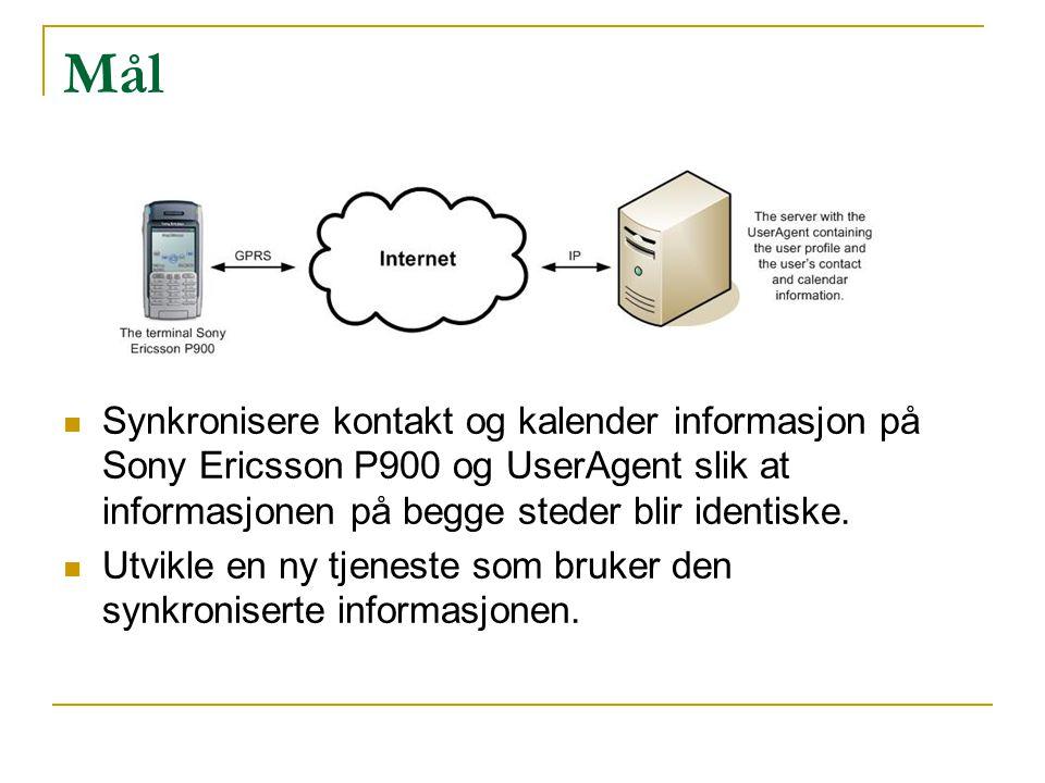 Mål Synkronisere kontakt og kalender informasjon på Sony Ericsson P900 og UserAgent slik at informasjonen på begge steder blir identiske. Utvikle en n