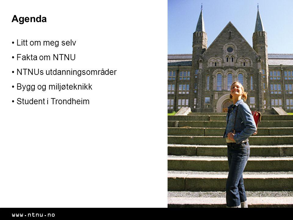 Agenda Litt om meg selv Fakta om NTNU NTNUs utdanningsområder Bygg og miljøteknikk Student i Trondheim