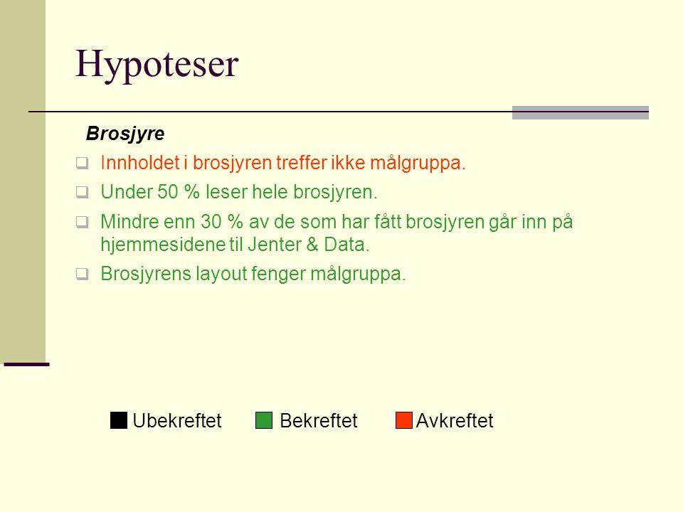 Hypoteser Hjemmeside  Hjemmesiden gir ikke svar på de spørsmål det søkes etter etter å ha lest brosjyren.
