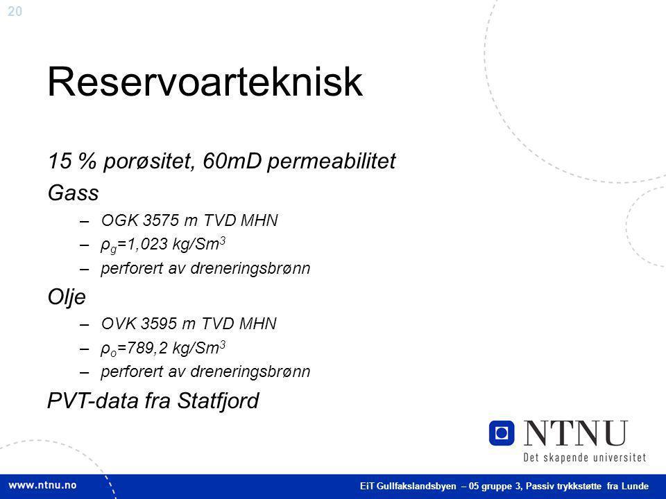 20 Reservoarteknisk 15 % porøsitet, 60mD permeabilitet Gass –OGK 3575 m TVD MHN –ρ g =1,023 kg/Sm 3 –perforert av dreneringsbrønn Olje –OVK 3595 m TVD