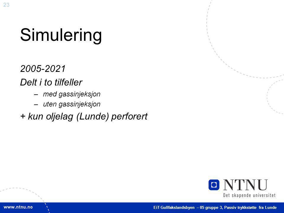 23 Simulering 2005-2021 Delt i to tilfeller –med gassinjeksjon –uten gassinjeksjon + kun oljelag (Lunde) perforert EiT Gullfakslandsbyen – 05 gruppe 3