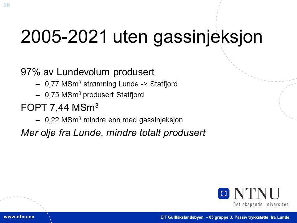 26 2005-2021 uten gassinjeksjon 97% av Lundevolum produsert –0,77 MSm 3 strømning Lunde -> Statfjord –0,75 MSm 3 produsert Statfjord FOPT 7,44 MSm 3 –