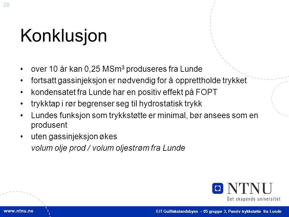 28 Konklusjon over 10 år kan 0,25 MSm 3 produseres fra Lunde fortsatt gassinjeksjon er nødvendig for å opprettholde trykket kondensatet fra Lunde har