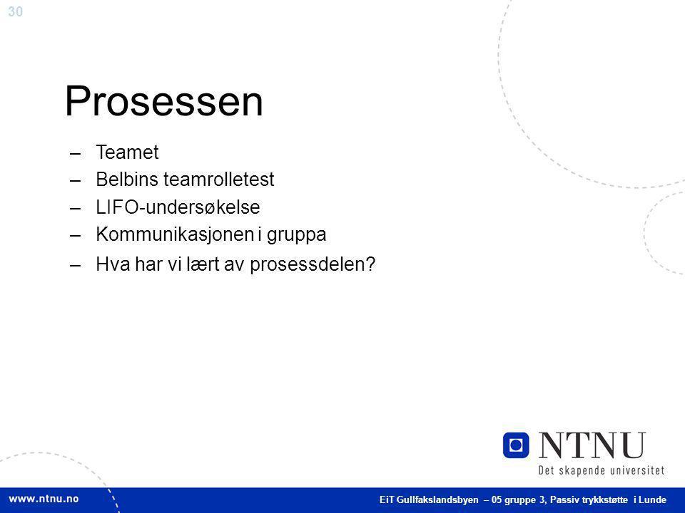 30 Prosessen –Teamet –Belbins teamrolletest –LIFO-undersøkelse –Kommunikasjonen i gruppa –Hva har vi lært av prosessdelen? EiT Gullfakslandsbyen – 05