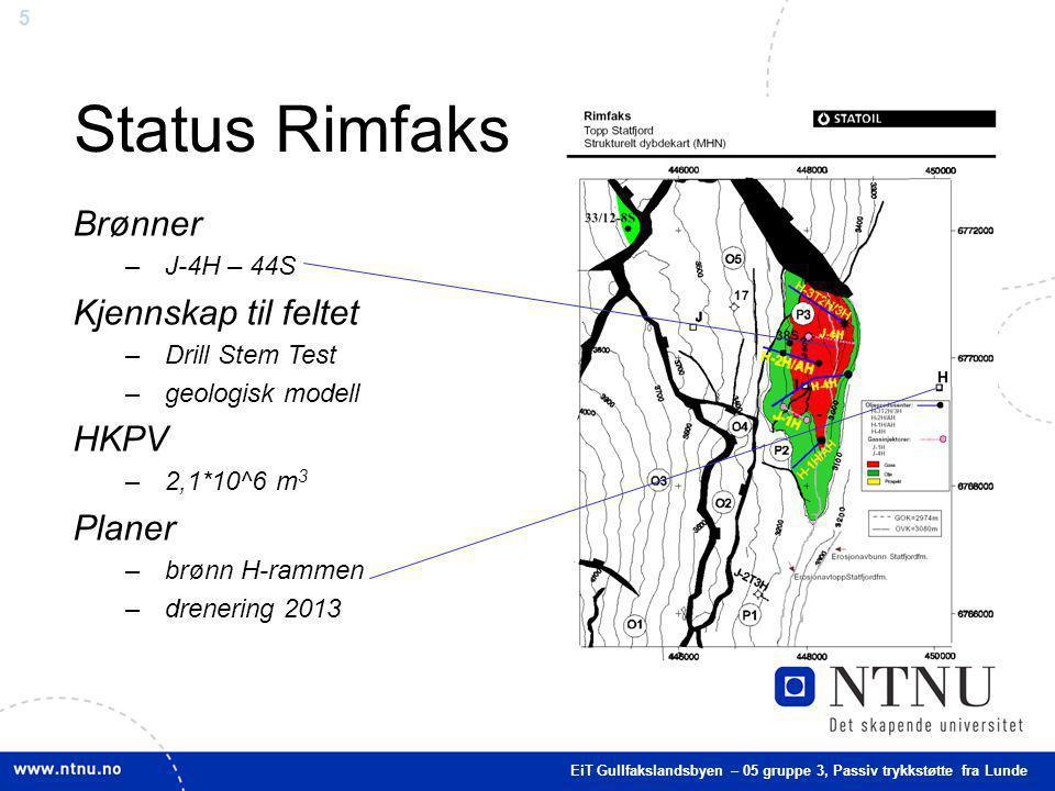 5 Status Rimfaks EiT Gullfakslandsbyen – 05 gruppe 3, Passiv trykkstøtte fra Lunde Brønner –J-4H – 44S Kjennskap til feltet –Drill Stem Test –geologis