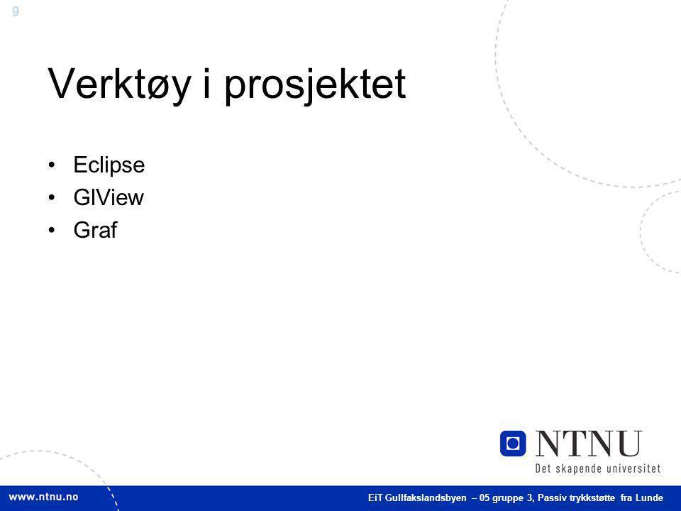 9 Verktøy i prosjektet Eclipse GlView Graf EiT Gullfakslandsbyen – 05 gruppe 3, Passiv trykkstøtte fra Lunde