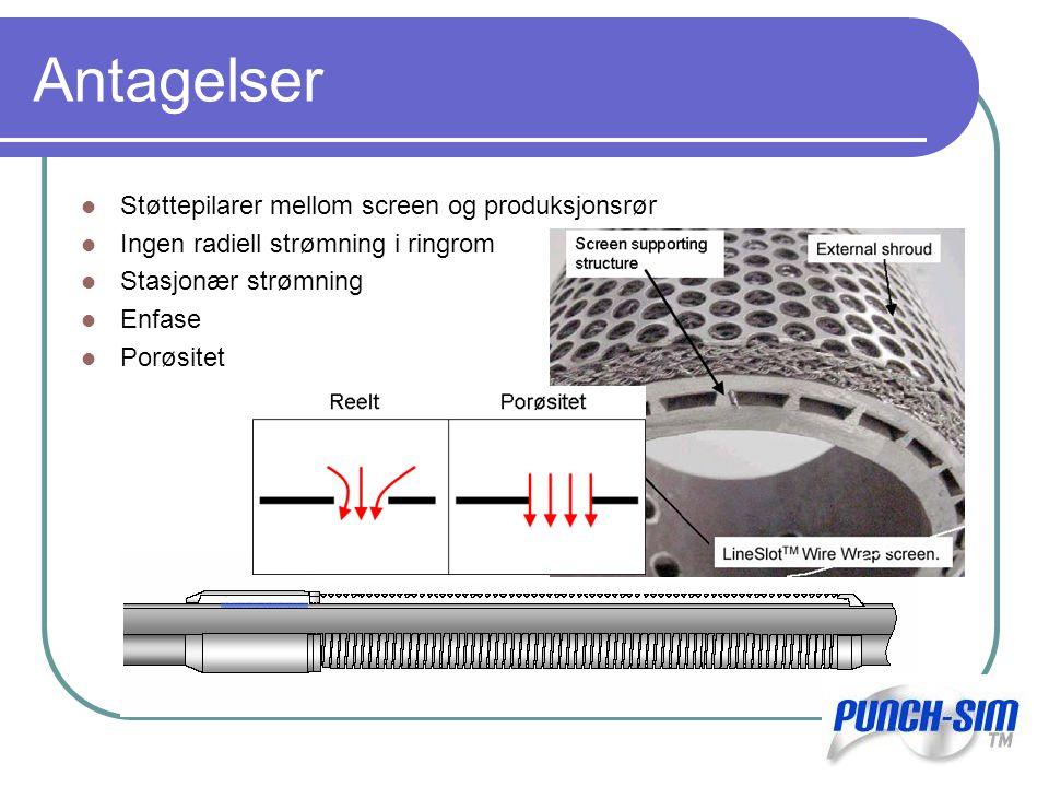 Antagelser Støttepilarer mellom screen og produksjonsrør Ingen radiell strømning i ringrom Stasjonær strømning Enfase Porøsitet