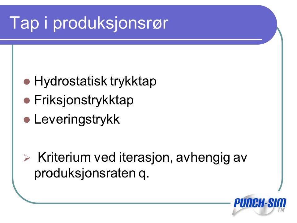 Tap i produksjonsrør Hydrostatisk trykktap Friksjonstrykktap Leveringstrykk  Kriterium ved iterasjon, avhengig av produksjonsraten q.