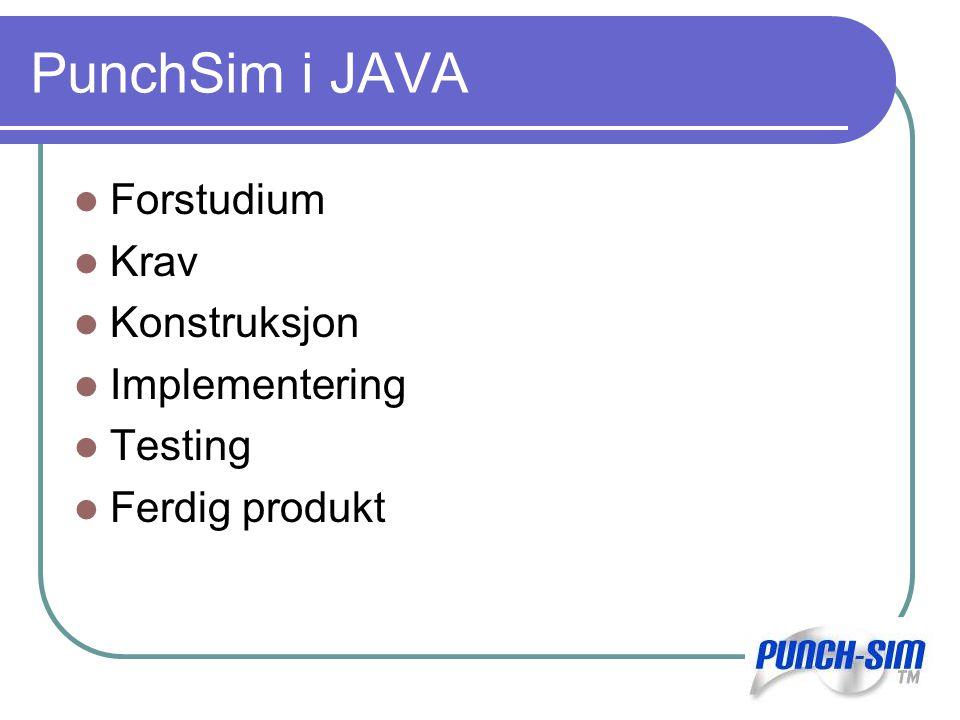 PunchSim i JAVA Forstudium Krav Konstruksjon Implementering Testing Ferdig produkt