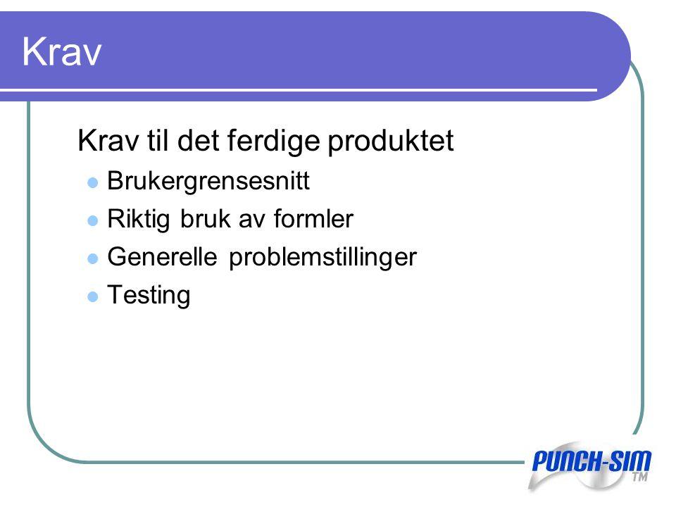 Krav Krav til det ferdige produktet Brukergrensesnitt Riktig bruk av formler Generelle problemstillinger Testing