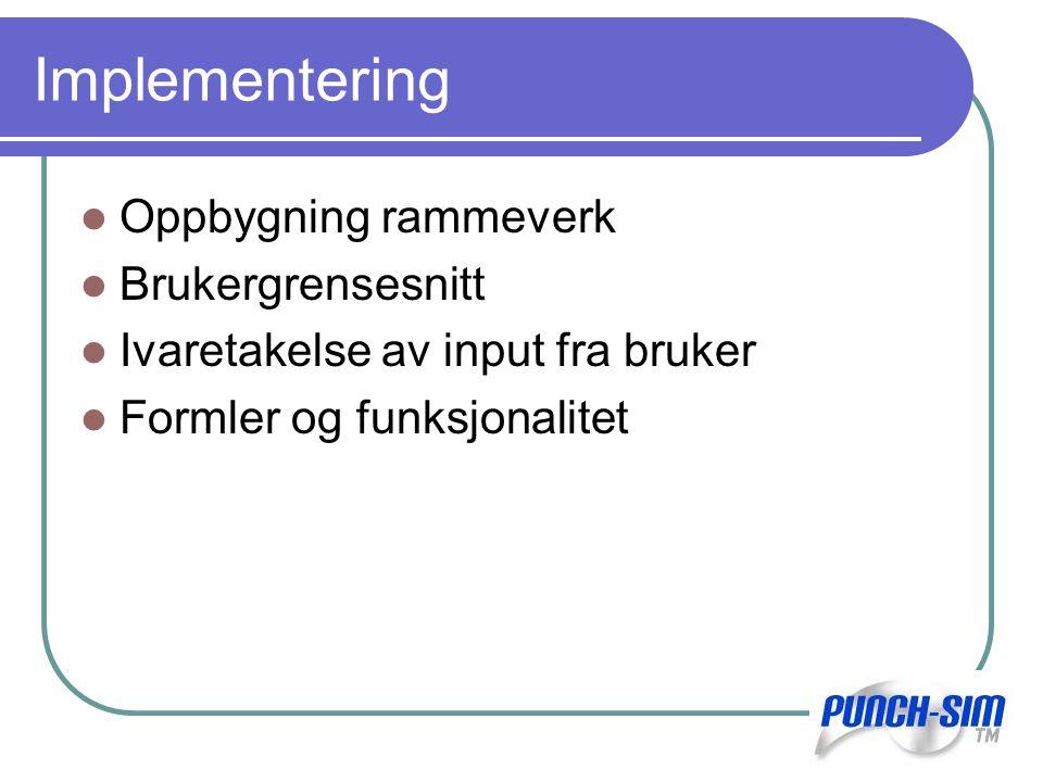 Implementering Oppbygning rammeverk Brukergrensesnitt Ivaretakelse av input fra bruker Formler og funksjonalitet