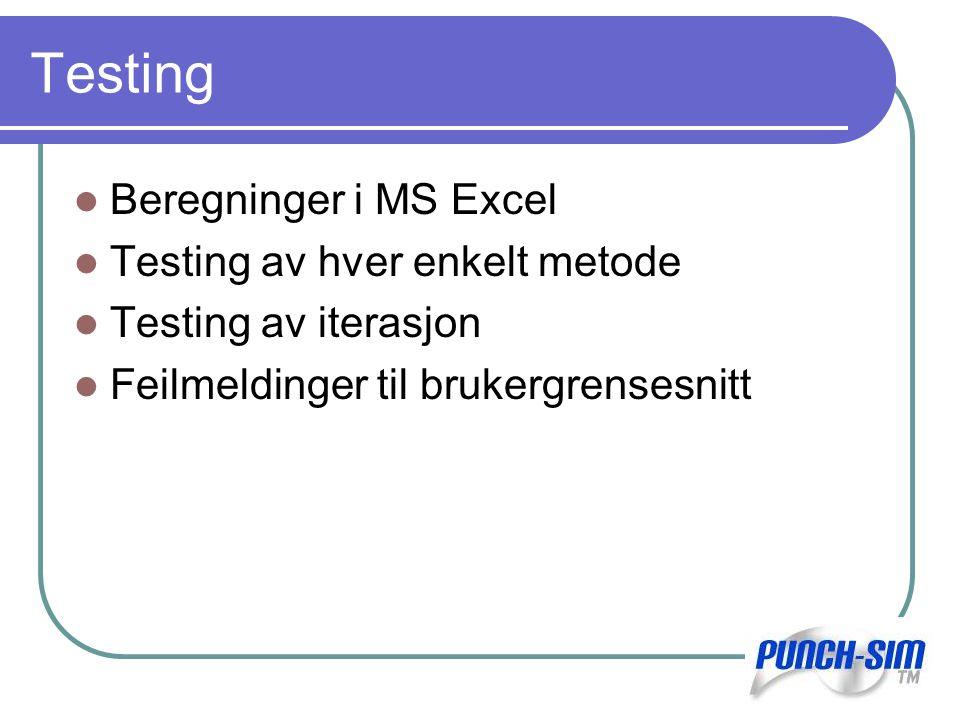 Testing Beregninger i MS Excel Testing av hver enkelt metode Testing av iterasjon Feilmeldinger til brukergrensesnitt