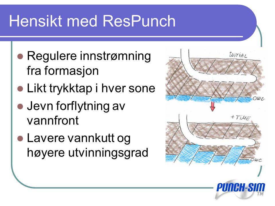 Hensikt med ResPunch Regulere innstrømning fra formasjon Likt trykktap i hver sone Jevn forflytning av vannfront Lavere vannkutt og høyere utvinningsgrad