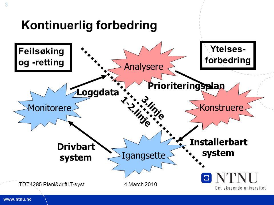 3 4 March 2010 TDT4285 Planl&drift IT-syst Kontinuerlig forbedring Analysere Konstruere Igangsette Monitorere Prioriteringsplan Drivbart system Installerbart system Loggdata 3.linje 1-2.linje Feilsøking og -retting Ytelses- forbedring