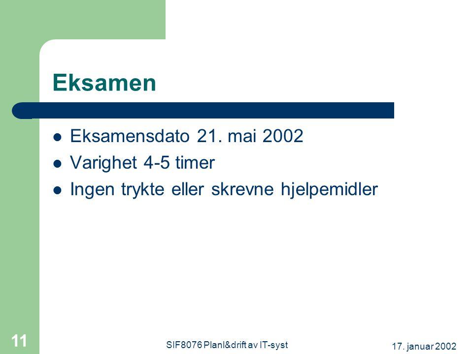 17. januar 2002 SIF8076 Planl&drift av IT-syst 11 Eksamen Eksamensdato 21.
