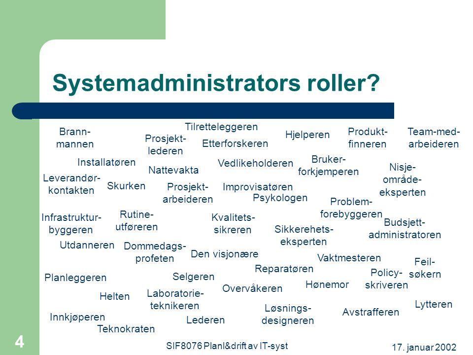 17. januar 2002 SIF8076 Planl&drift av IT-syst 4 Systemadministrators roller.