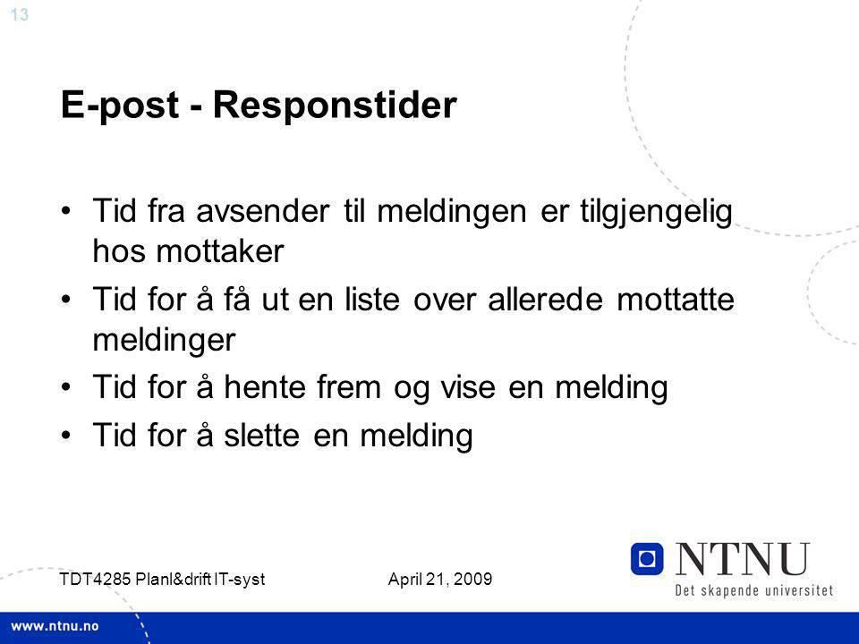 13 April 21, 2009 TDT4285 Planl&drift IT-syst E-post - Responstider Tid fra avsender til meldingen er tilgjengelig hos mottaker Tid for å få ut en lis