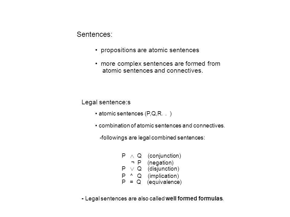 Sentences: propositions are atomic sentences more complex sentences are formed from atomic sentences and connectives.