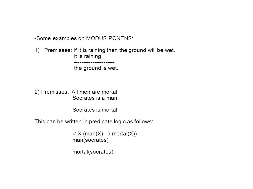 -Some examples on MODUS PONENS: 1) Premisses: If it is raining then the ground will be wet.