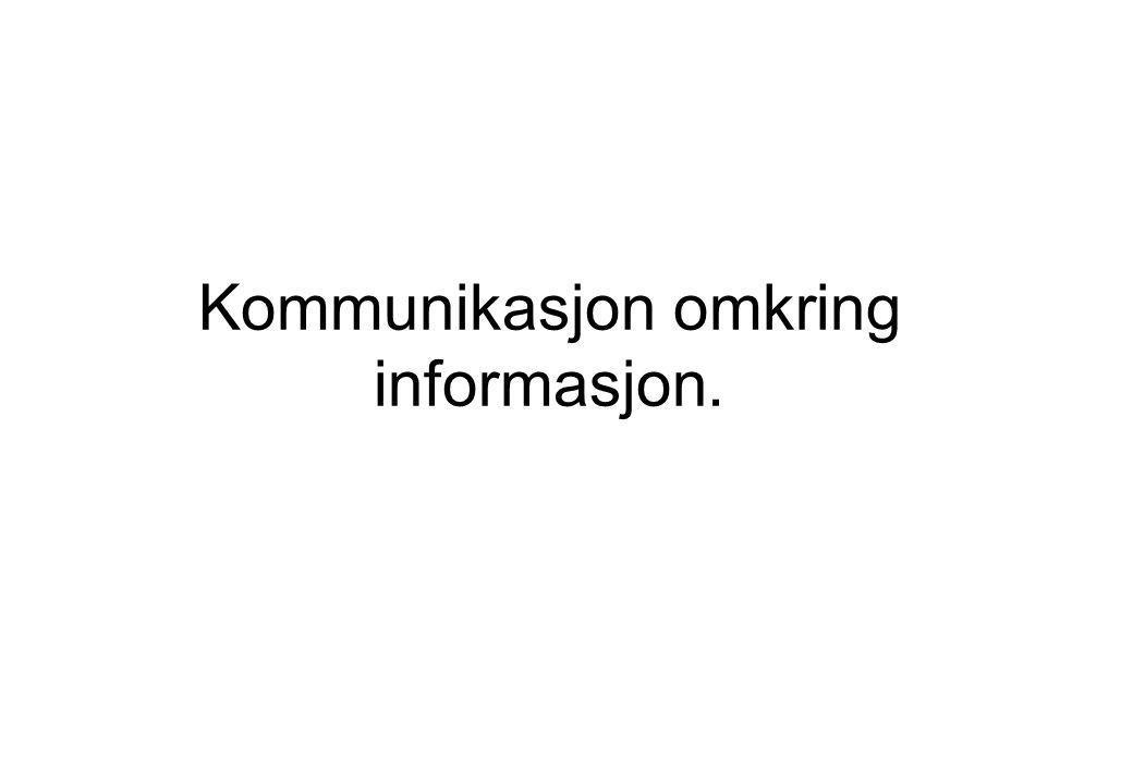 Kommunikasjon omkring informasjon.