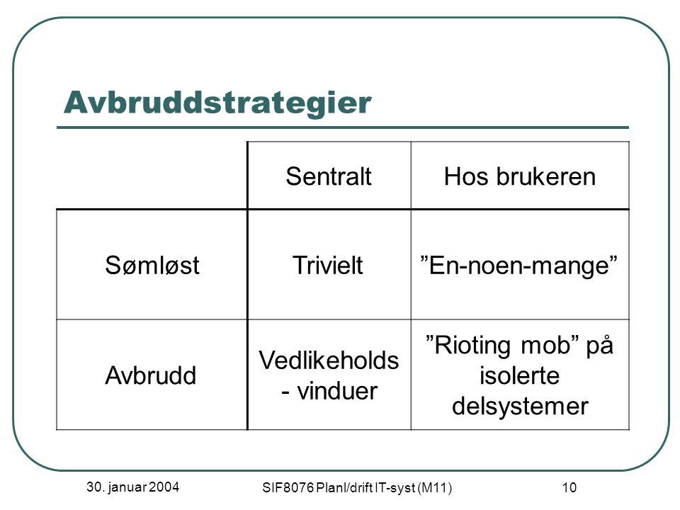 """30. januar 2004 SIF8076 Planl/drift IT-syst (M11) 10 Avbruddstrategier SentraltHos brukeren SømløstTrivielt""""En-noen-mange"""" Avbrudd Vedlikeholds - vind"""