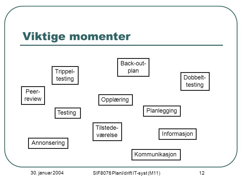 30. januar 2004 SIF8076 Planl/drift IT-syst (M11) 12 Viktige momenter Opplæring Testing Dobbelt- testing Trippel- testing Planlegging Back-out- plan T