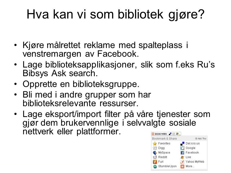 Hva kan vi som bibliotek gjøre? Kjøre målrettet reklame med spalteplass i venstremargen av Facebook. Lage biblioteksapplikasjoner, slik som f.eks Ru's