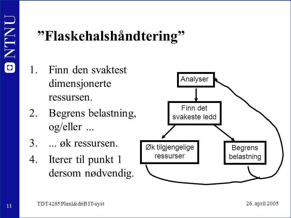 """11 26. april 2005 TDT4285 Planl&drift IT-syst """"Flaskehalshåndtering"""" 1.Finn den svaktest dimensjonerte ressursen. 2.Begrens belastning, og/eller... 3."""