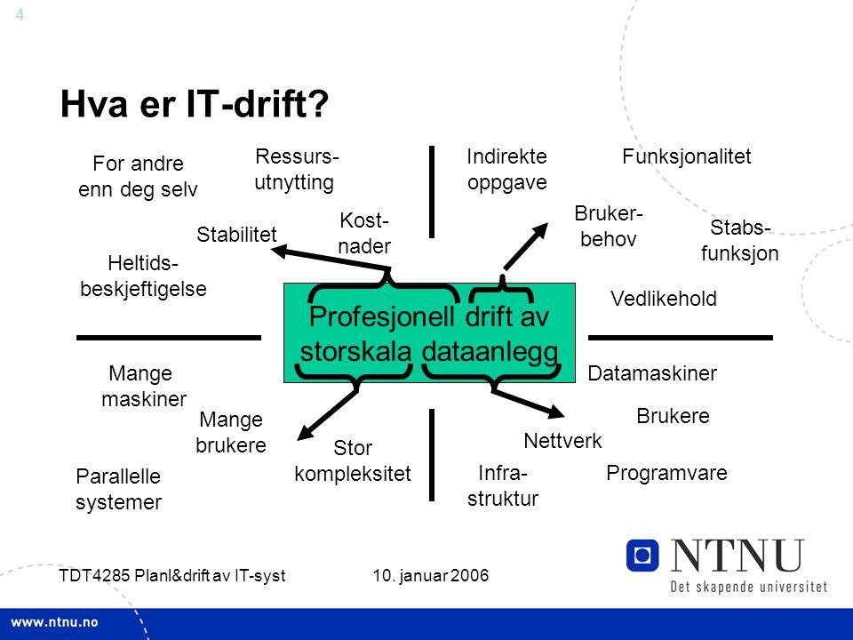 4 10. januar 2006 TDT4285 Planl&drift av IT-syst Hva er IT-drift.