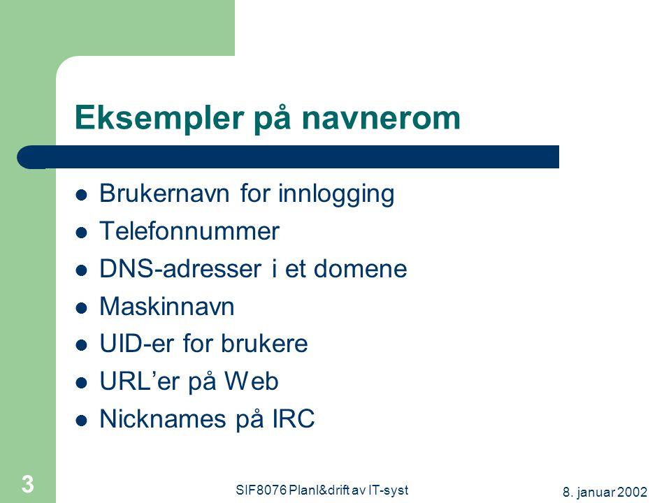 8. januar 2002 SIF8076 Planl&drift av IT-syst 3 Eksempler på navnerom Brukernavn for innlogging Telefonnummer DNS-adresser i et domene Maskinnavn UID-