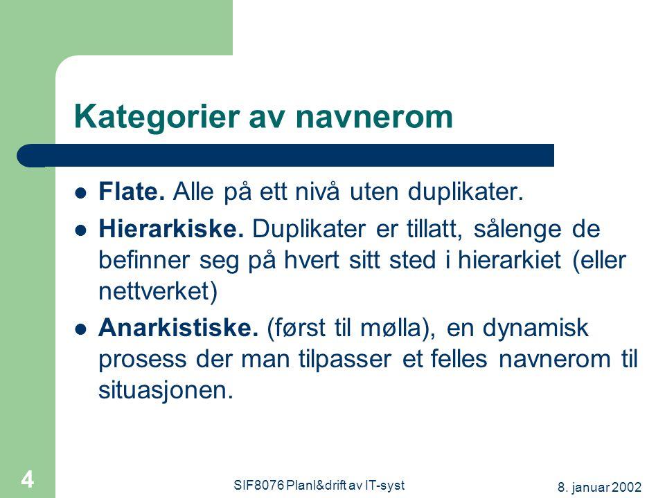 8. januar 2002 SIF8076 Planl&drift av IT-syst 4 Kategorier av navnerom Flate.