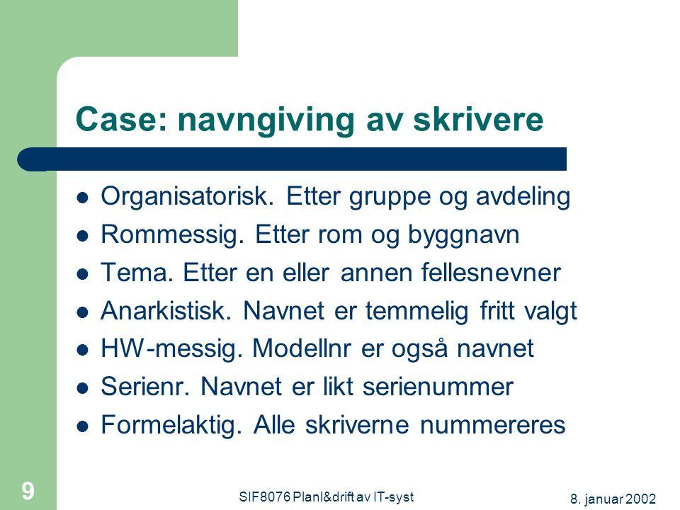 8. januar 2002 SIF8076 Planl&drift av IT-syst 9 Case: navngiving av skrivere Organisatorisk.