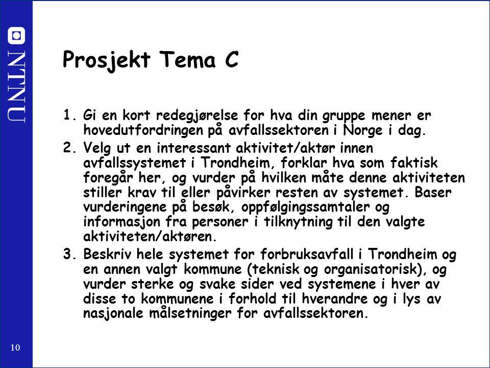 10 Prosjekt Tema C 1.Gi en kort redegjørelse for hva din gruppe mener er hovedutfordringen på avfallssektoren i Norge i dag. 2.Velg ut en interessant