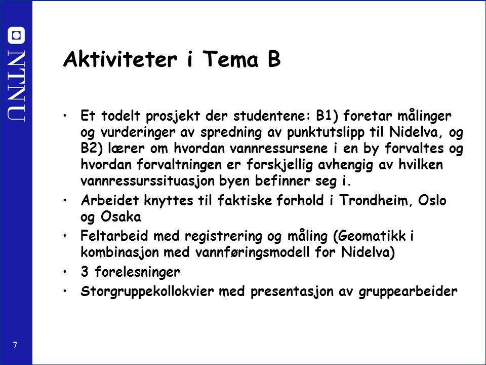 7 Aktiviteter i Tema B Et todelt prosjekt der studentene: B1) foretar målinger og vurderinger av spredning av punktutslipp til Nidelva, og B2) lærer o