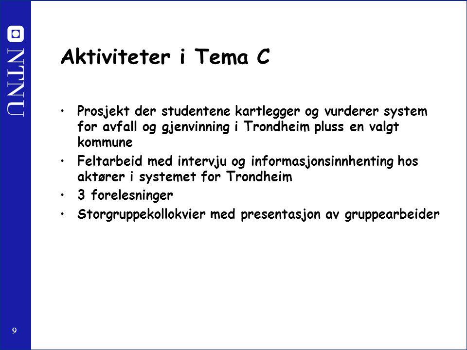 9 Aktiviteter i Tema C Prosjekt der studentene kartlegger og vurderer system for avfall og gjenvinning i Trondheim pluss en valgt kommune Feltarbeid m