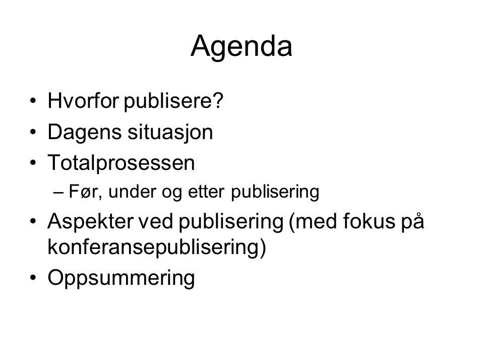 Agenda Hvorfor publisere.