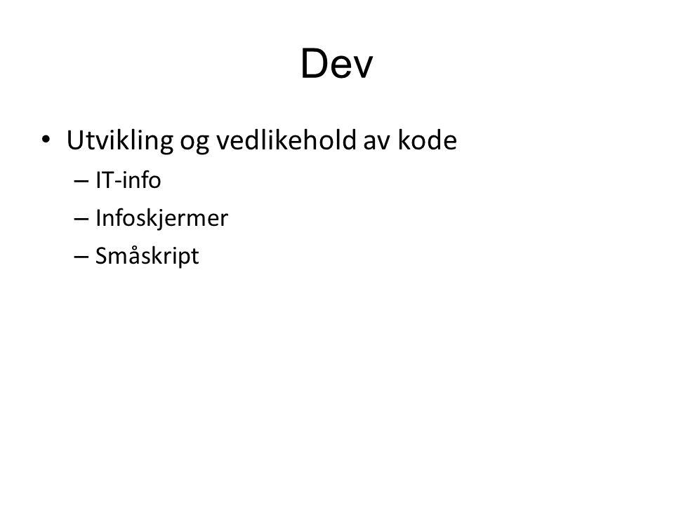 Dev Utvikling og vedlikehold av kode – IT-info – Infoskjermer – Småskript