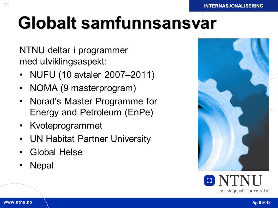 11 Globalt samfunnsansvar NTNU deltar i programmer med utviklingsaspekt: NUFU (10 avtaler 2007–2011) NOMA (9 masterprogram) Norad's Master Programme for Energy and Petroleum (EnPe) Kvoteprogrammet UN Habitat Partner University Global Helse Nepal INTERNASJONALISERING April 2012