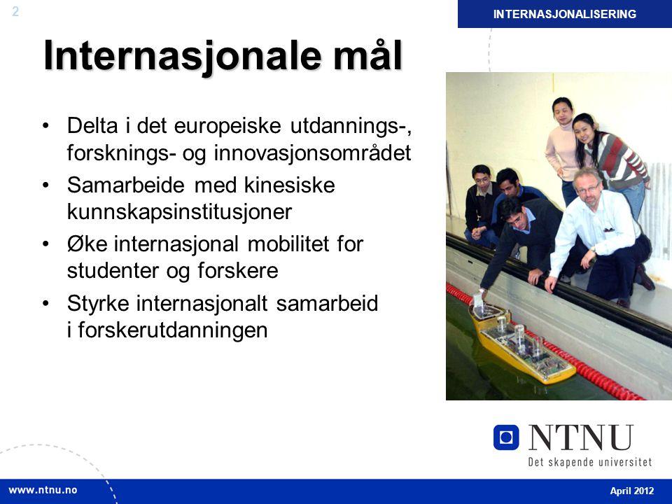 2 Internasjonale mål Delta i det europeiske utdannings-, forsknings- og innovasjonsområdet Samarbeide med kinesiske kunnskapsinstitusjoner Øke interna