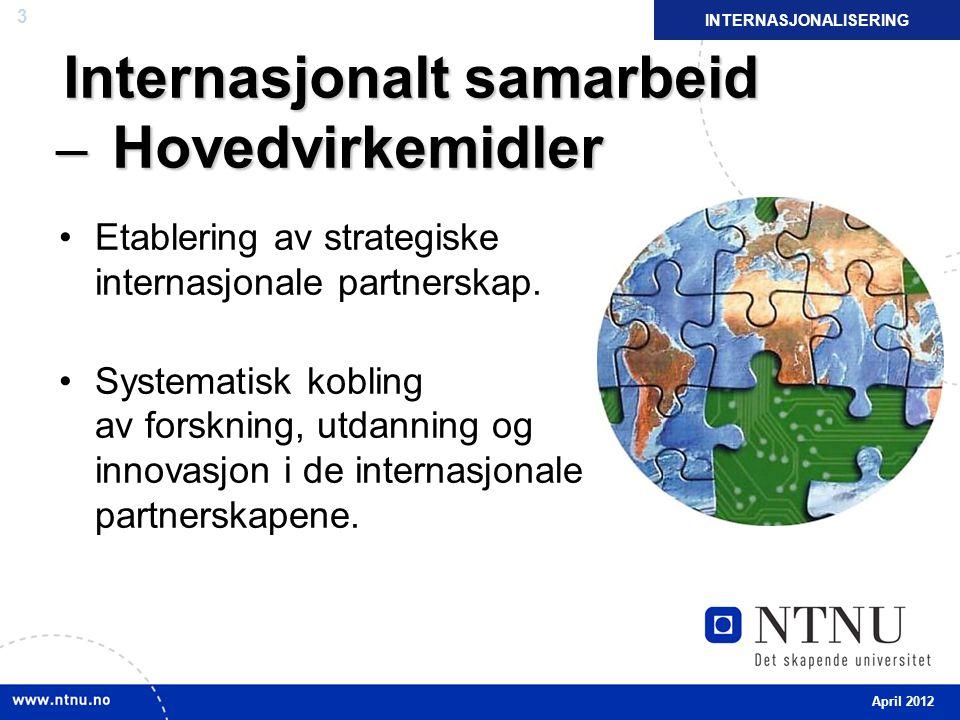 3 Internasjonalt samarbeid ̶ Hovedvirkemidler Etablering av strategiske internasjonale partnerskap.